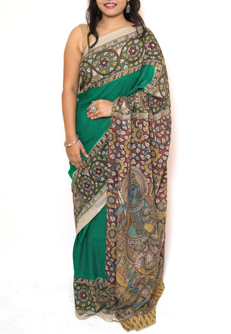Green Kalamkari Cotton Saree -  Krishna Radha Rasleela