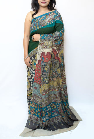 Dark Green Kalamkari Cotton Saree - Radha Krishna