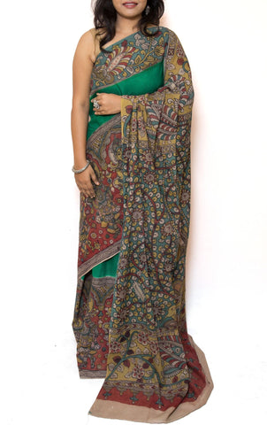 Green Kalamkari Cotton Saree - Vishnu Laxmi
