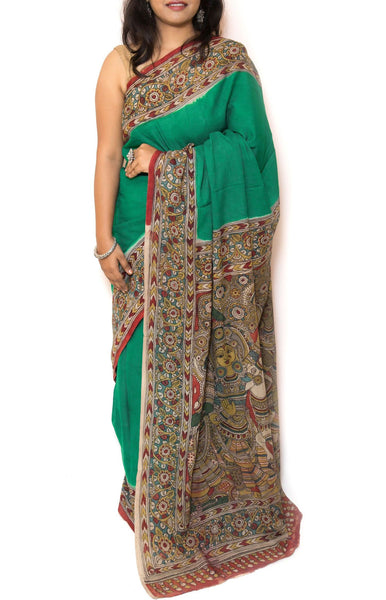 Jade Green Kalamkari Cotton Saree - Krishna Gopika