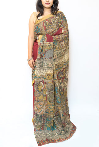 Maroon Kalamkari Cotton Saree - Ram and Sita