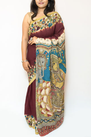 Coffee Brown Kalamkari Cotton Saree - Goddess Laxmi Dancing