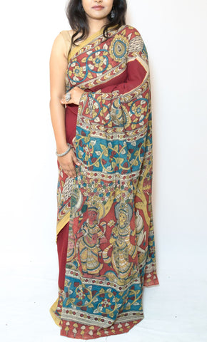 Maroon Kalamkari Cotton Saree - Krishna with Calf