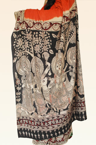 Orange Kalamkari Cotton Saree - Krishna Gopika