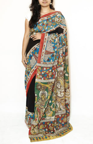 Black Kalamkari Cotton Saree - Krishna Gopika