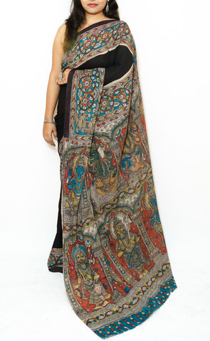 Black Kalamkari Cotton Saree - God Vishnu Avatars