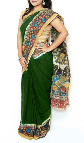 Dark Green Kalamkari Cotton Saree - Radha Krishna on Swing