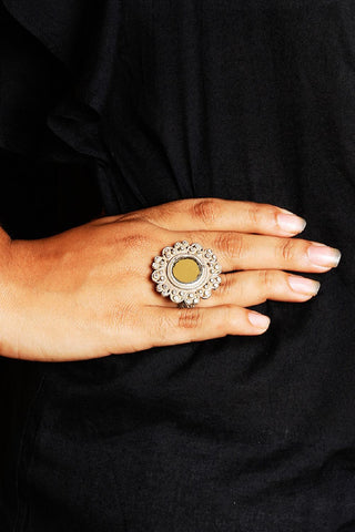 Silver Ornate Yellow Glass Ring