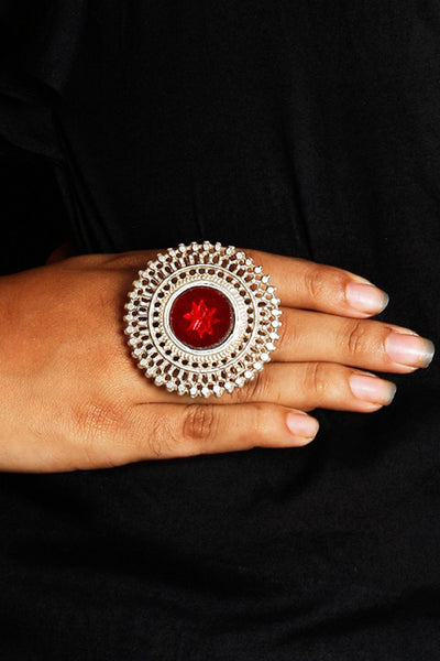 Silver Ornate Red Glass Ring