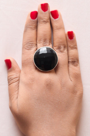 Black Onyx Braided Ring – 925 Sterling Silver (Size-8)