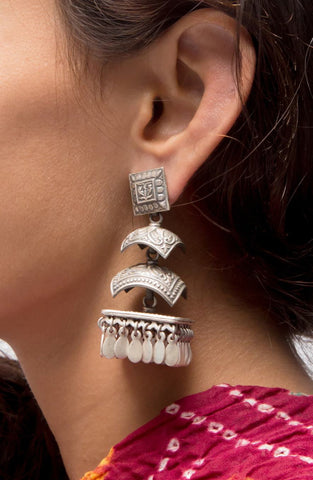 Chatura 4-tier Jhumkas - Sterling Silver