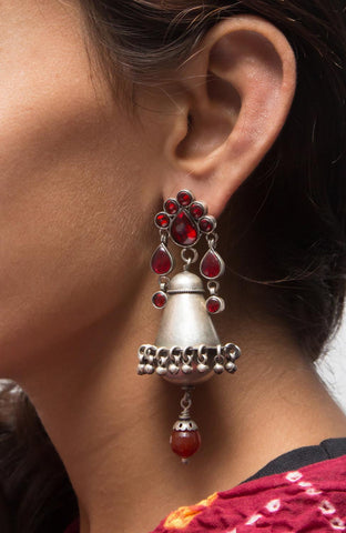 Glasswork Silver Jhumka - Red
