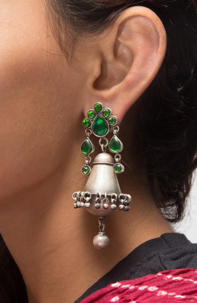 Glasswork Silver Jhumka - Green