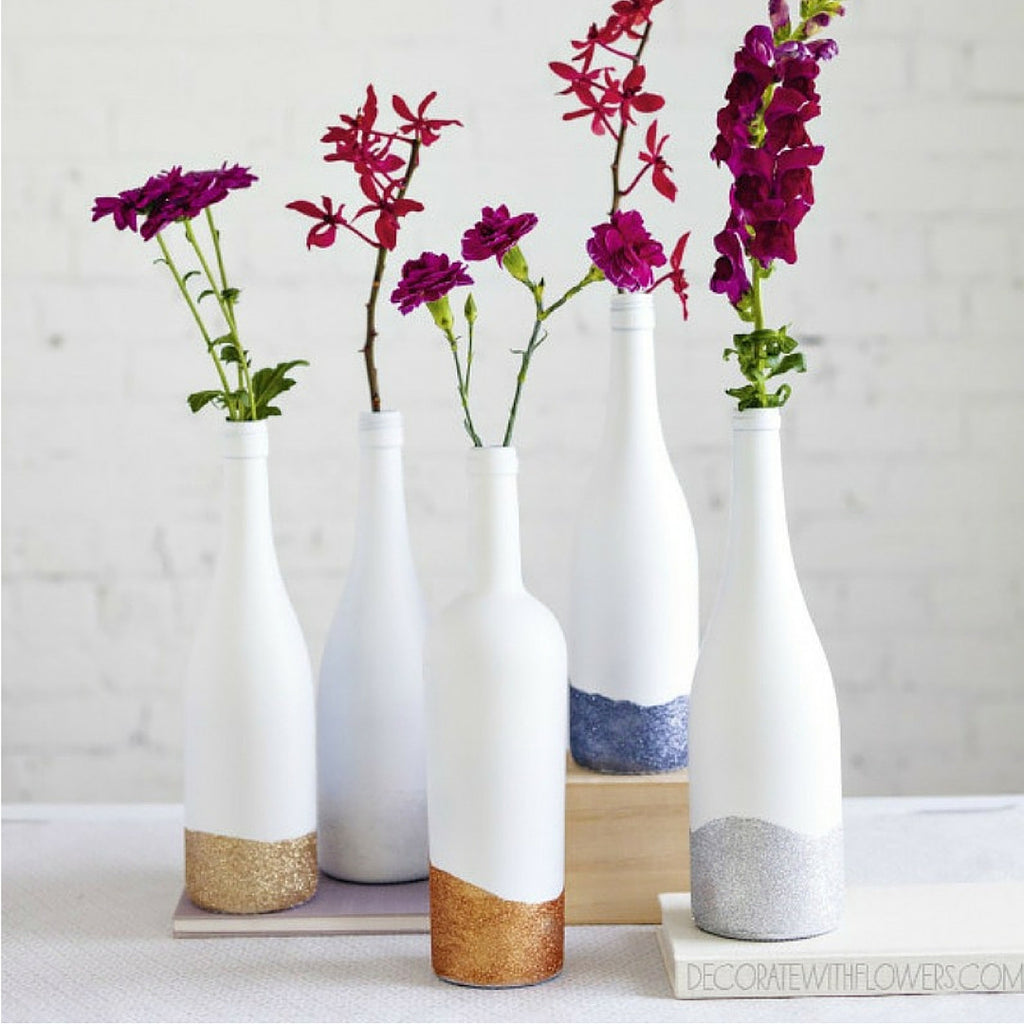 RO DIY // Wine bottle vases
