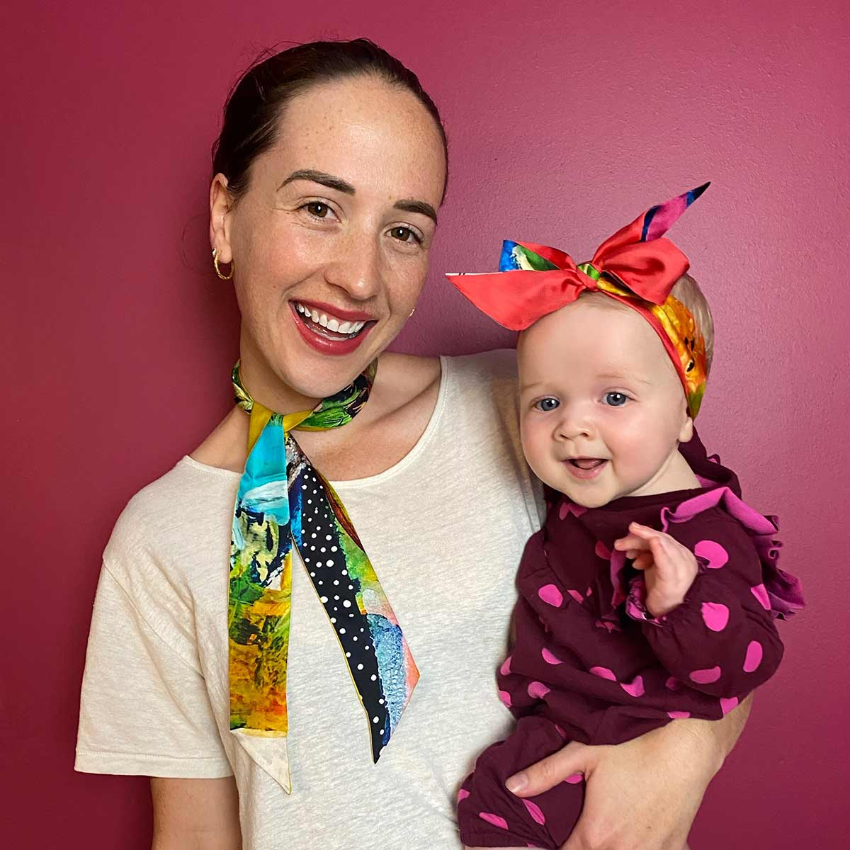Tracy Verdugo's daughter Santana and granddaughter Nora Luz wearing Ruby Olive Twilly Scarves