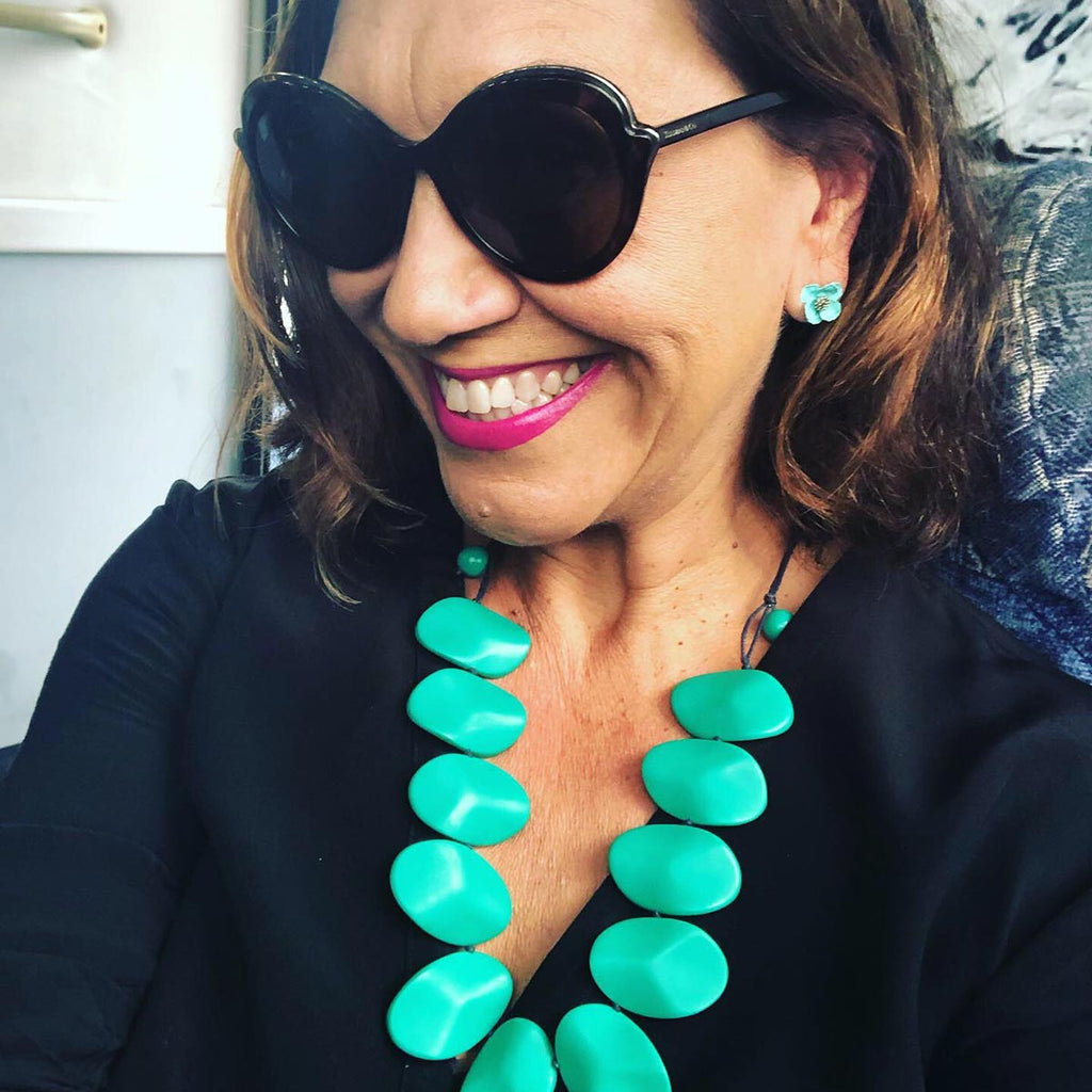Anita Heiss Wearing Oceania Jade Necklace