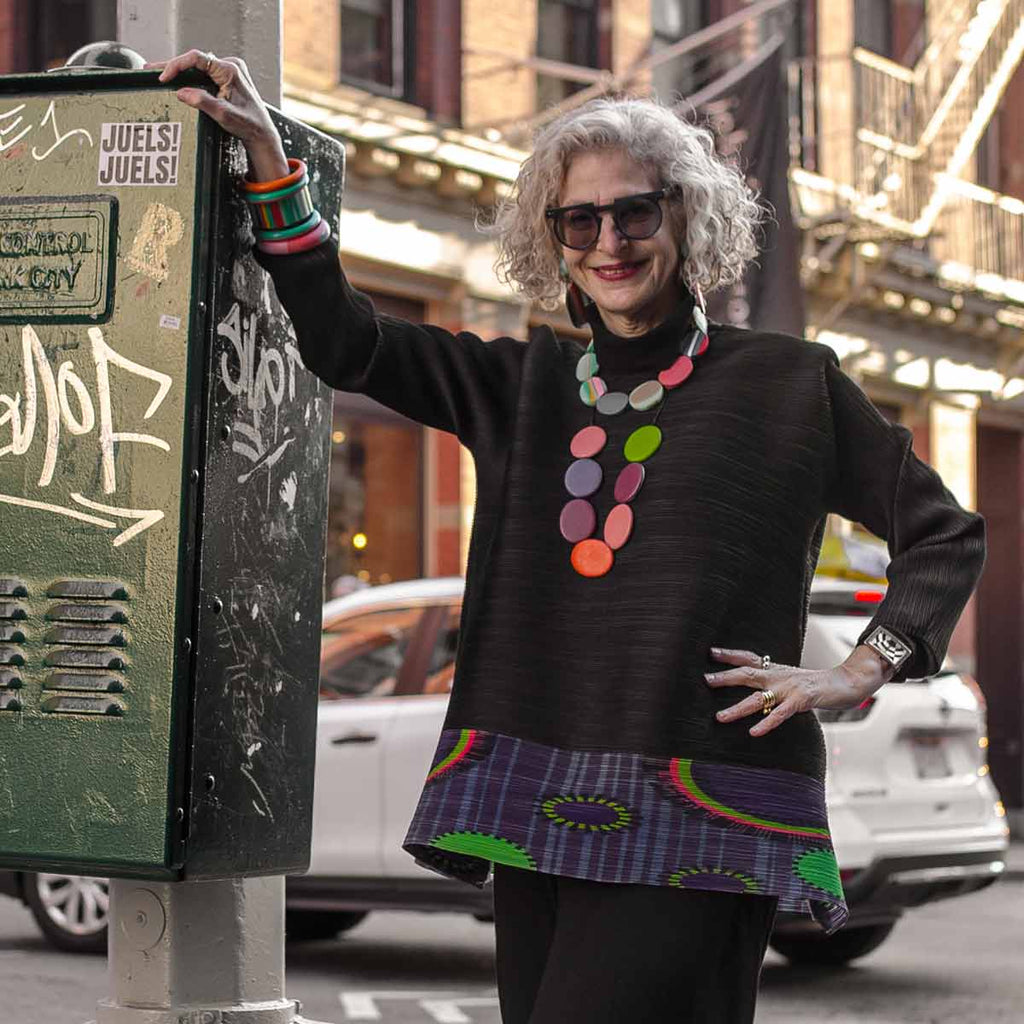 Dayle from New York City wearing colourful Ruby Olive necklace