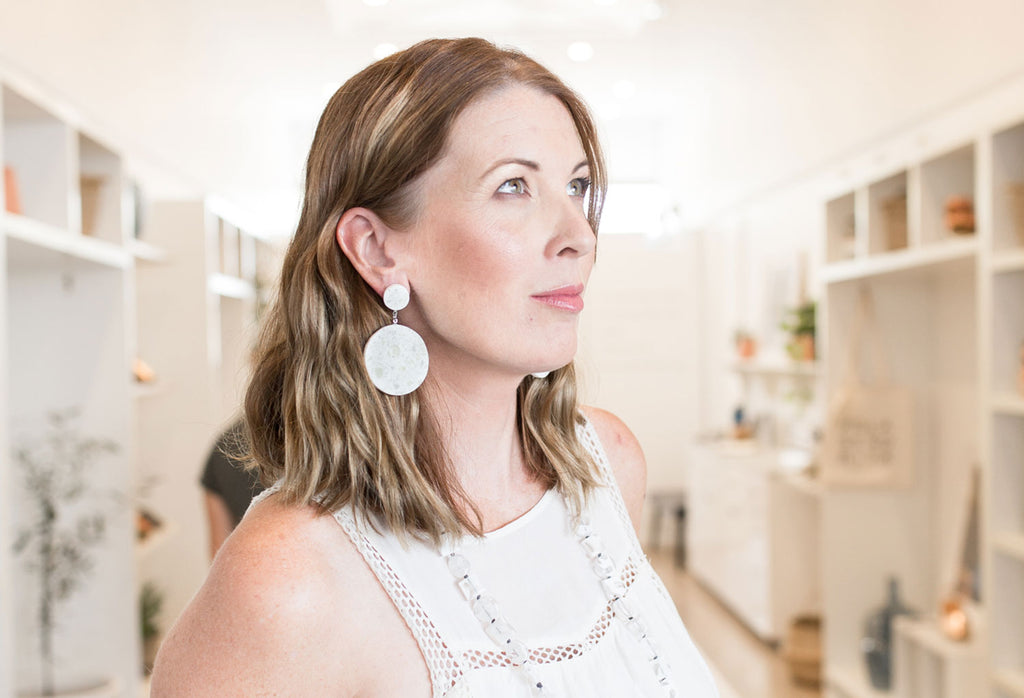 Lauren Petit Barcelona wearing Ruby Olive Earrings