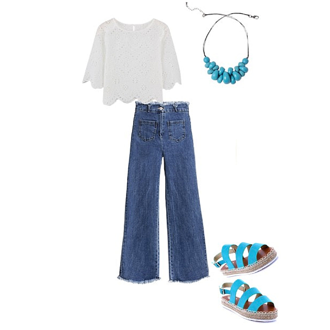 Womens Style White Blouse Blue Jeans and Blue Atlantis Jewellery