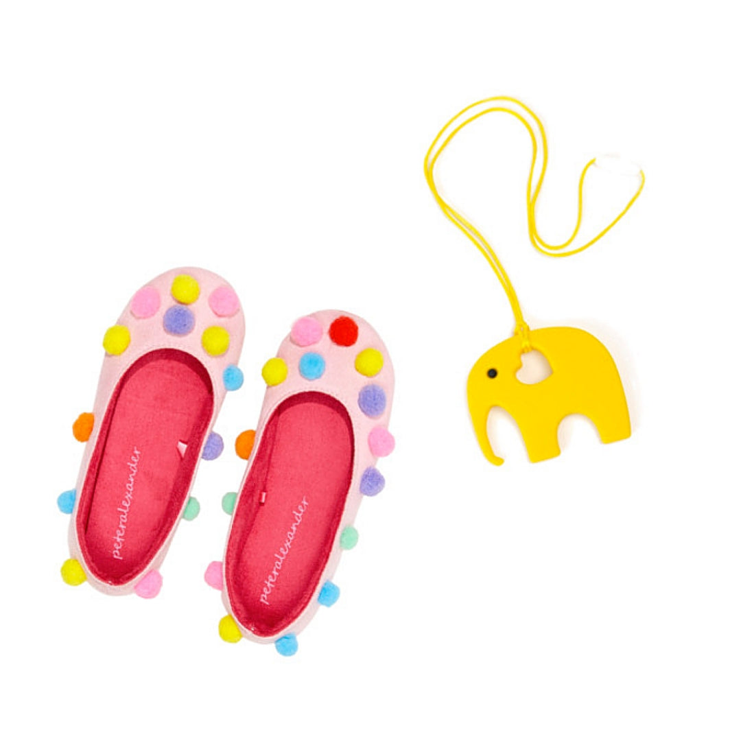Womens Pom Pom Colourful Cute Slippers with Silicone Necklace