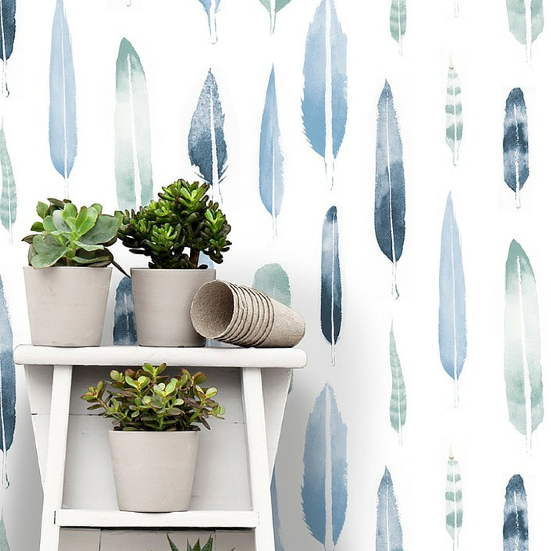 Interior Design Trend Blue Wallpaper With Feathers