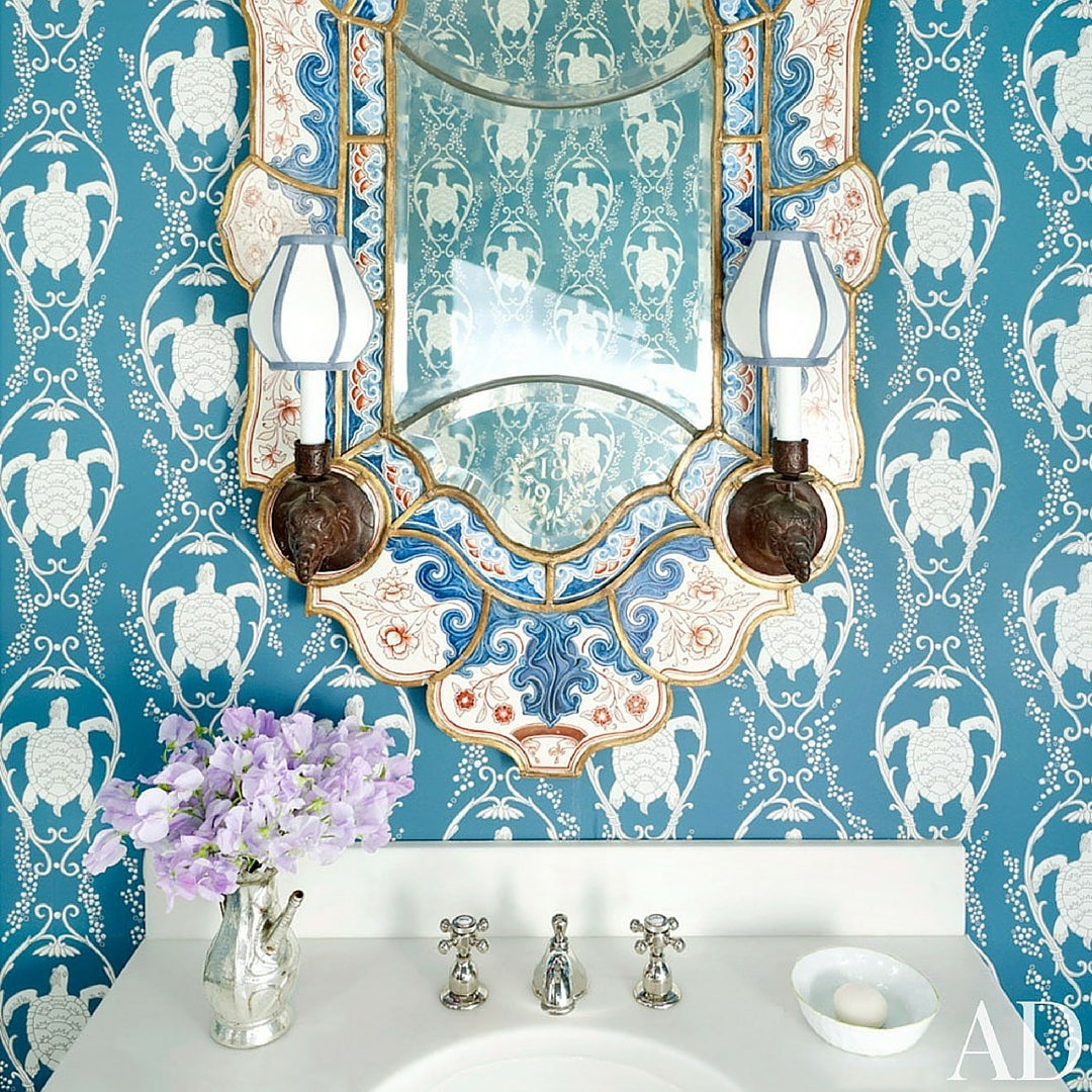 Interior Design Trend Blue Wallpaper With Turtles