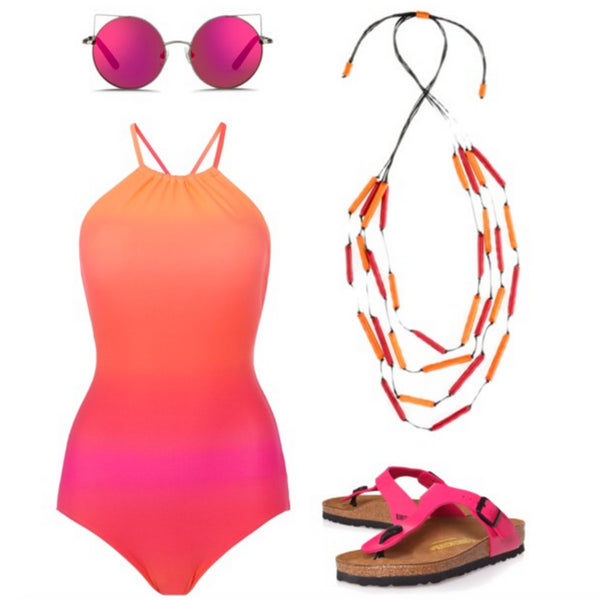 Pink accessories at the beach