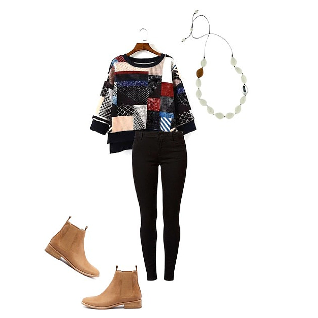 Womens Style Patchwork Sweater Jeans White Resin Necklace