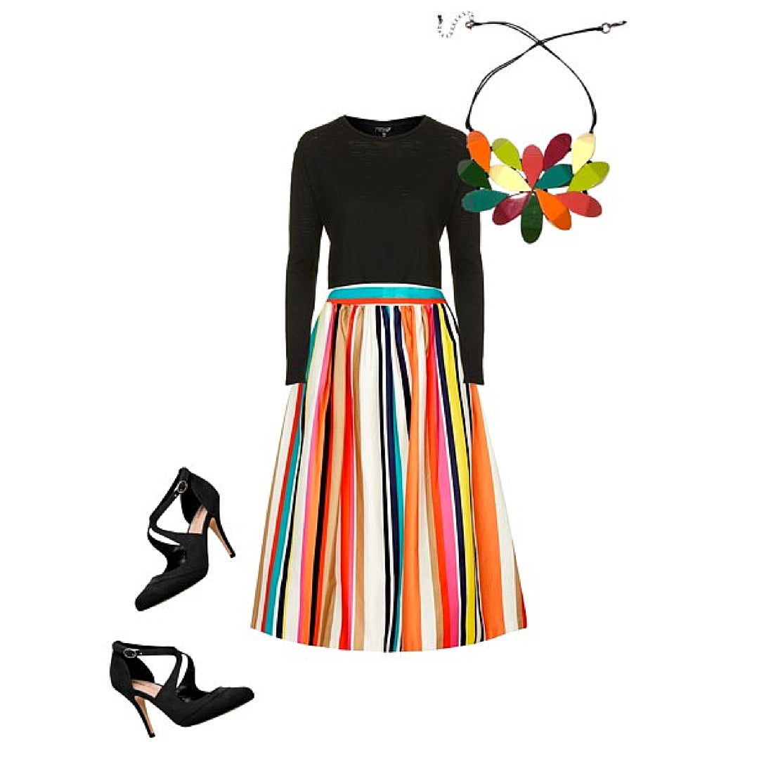 Womens Skirt and Sweater Colourful Statement Necklace
