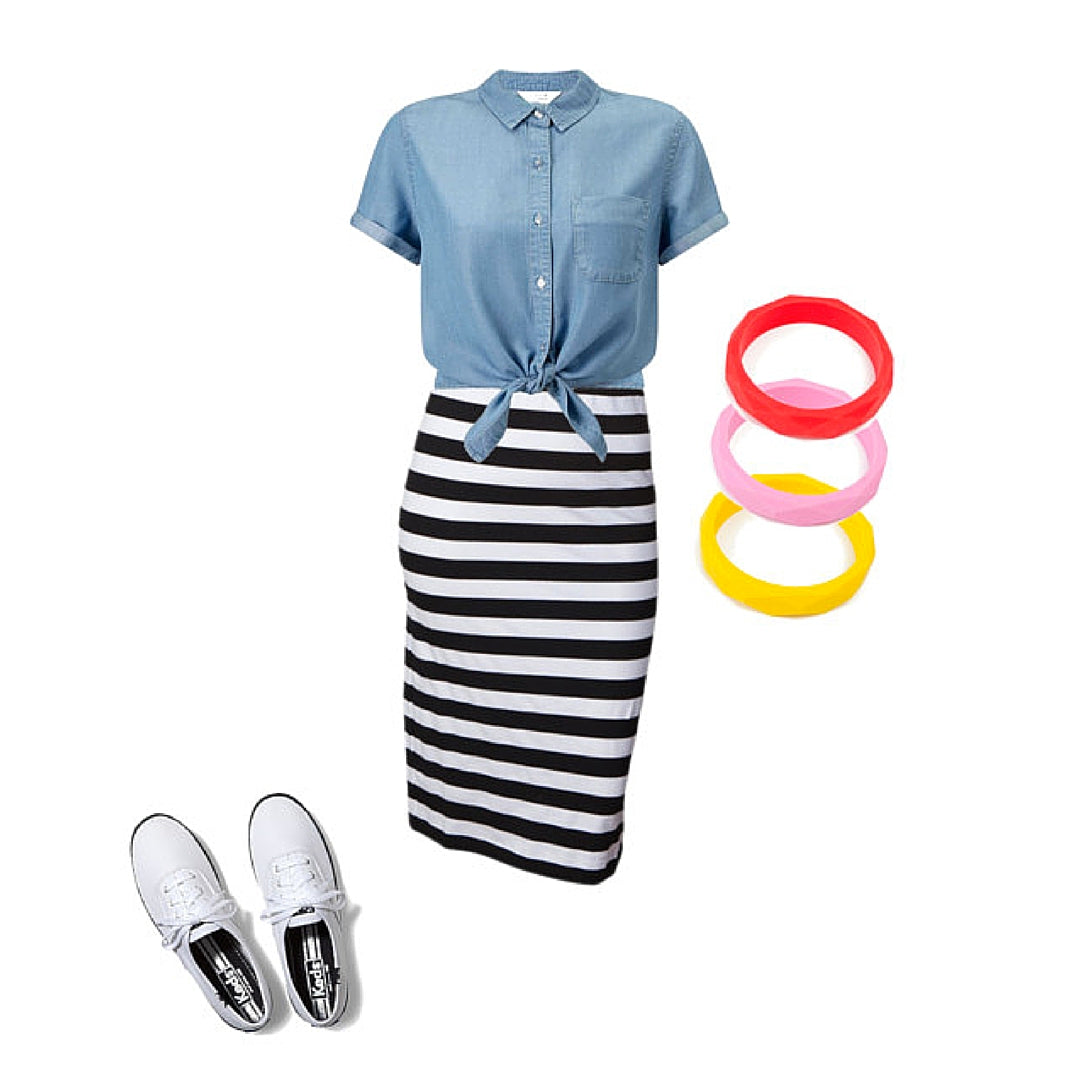 Womens Outfit Chambray Shirt Stripe Skirt and Colourful Bangles