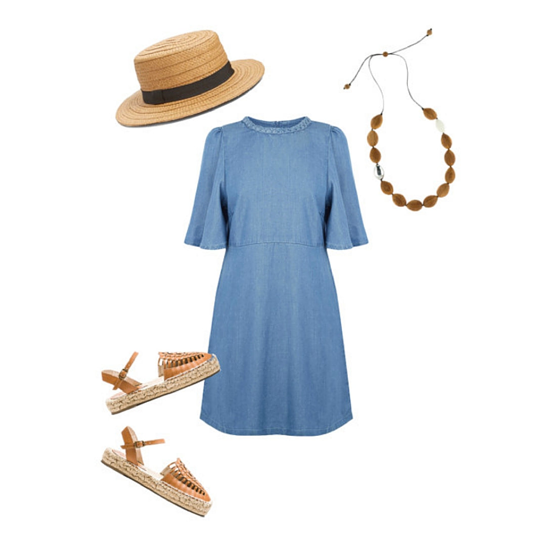 Costume Jewellery Wooden Necklace with Denim Dress and Boater Hat