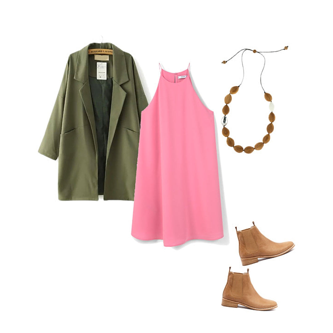 Womens Style Inspiration with Pink Dress, Trench Coat and Wooden Necklace