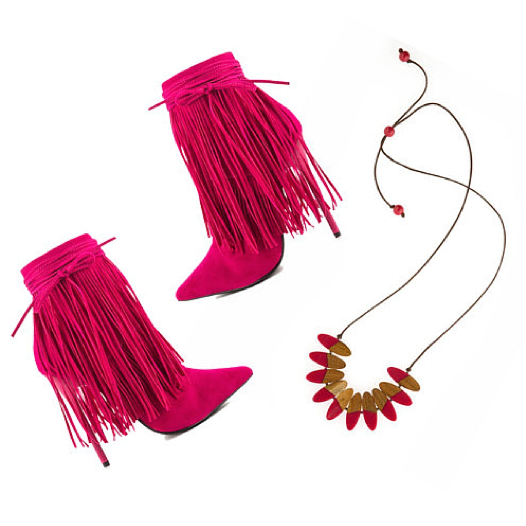 Pink Fringe Heeled Womens Boots, Wooden Necklace