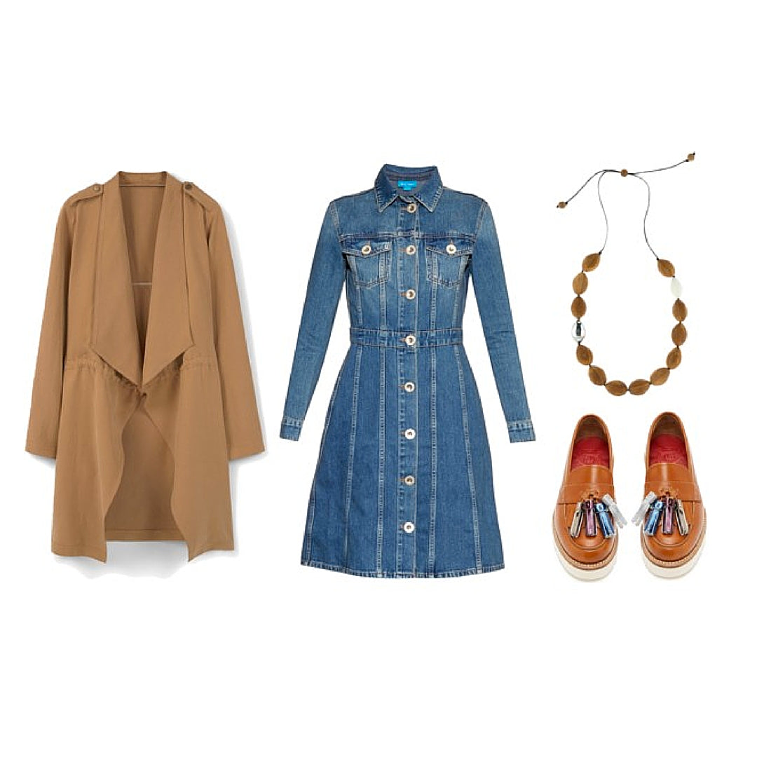 Womens Winter Outfit Denim Dress and Wooden Necklace