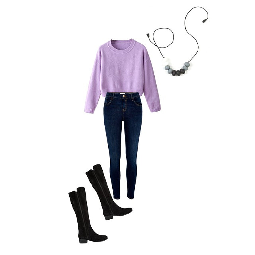 Womens Winter Style Purple Sweater and Silicone Grey Necklace