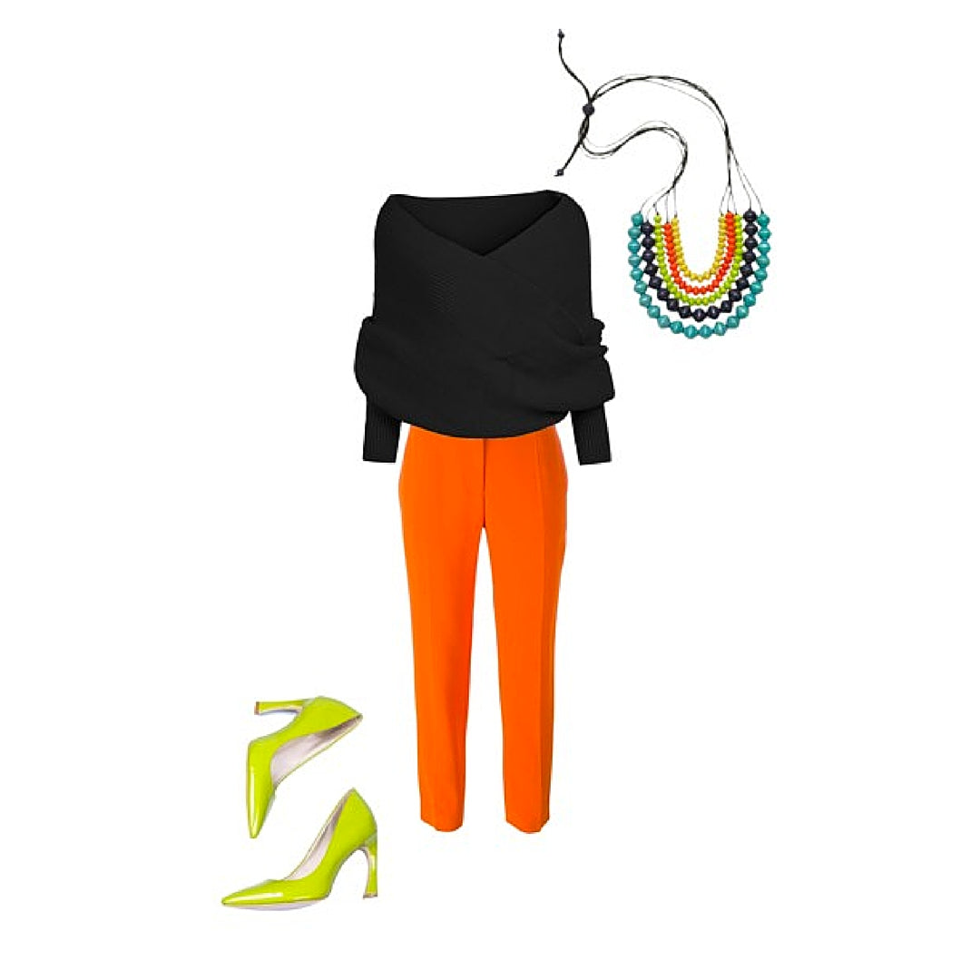 Womens Style Black Sweater and Pants Colourful Necklace