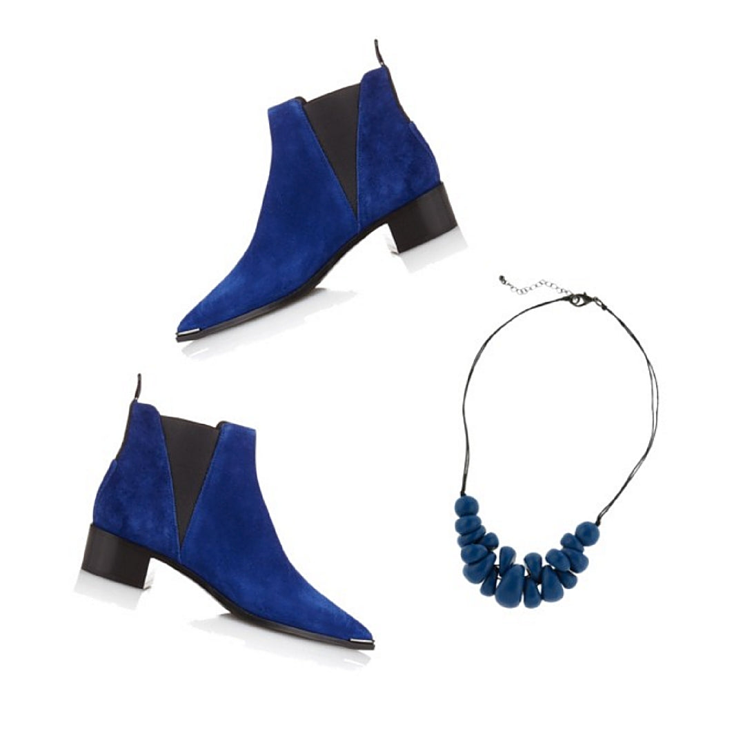 Acne Blue Suede Boots with Costume Jewellery by Ruby Olive