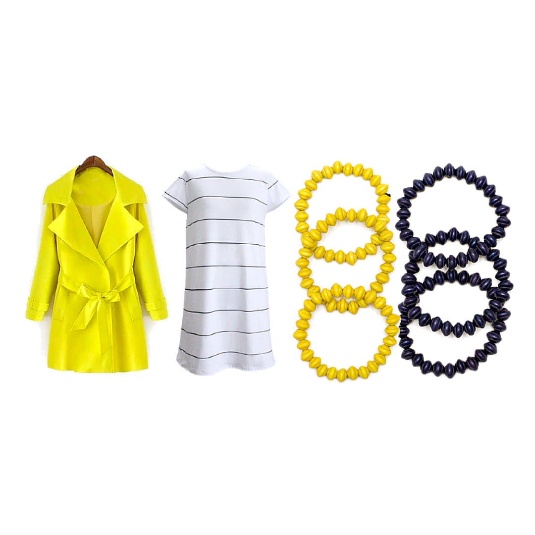 Womens Outfit Yellow Trench Coat Stripe Dress and Colourful Bangles