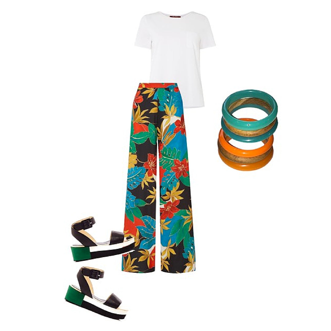 Womens Outfit Floral Pants, Sandals and Colourful Bangles