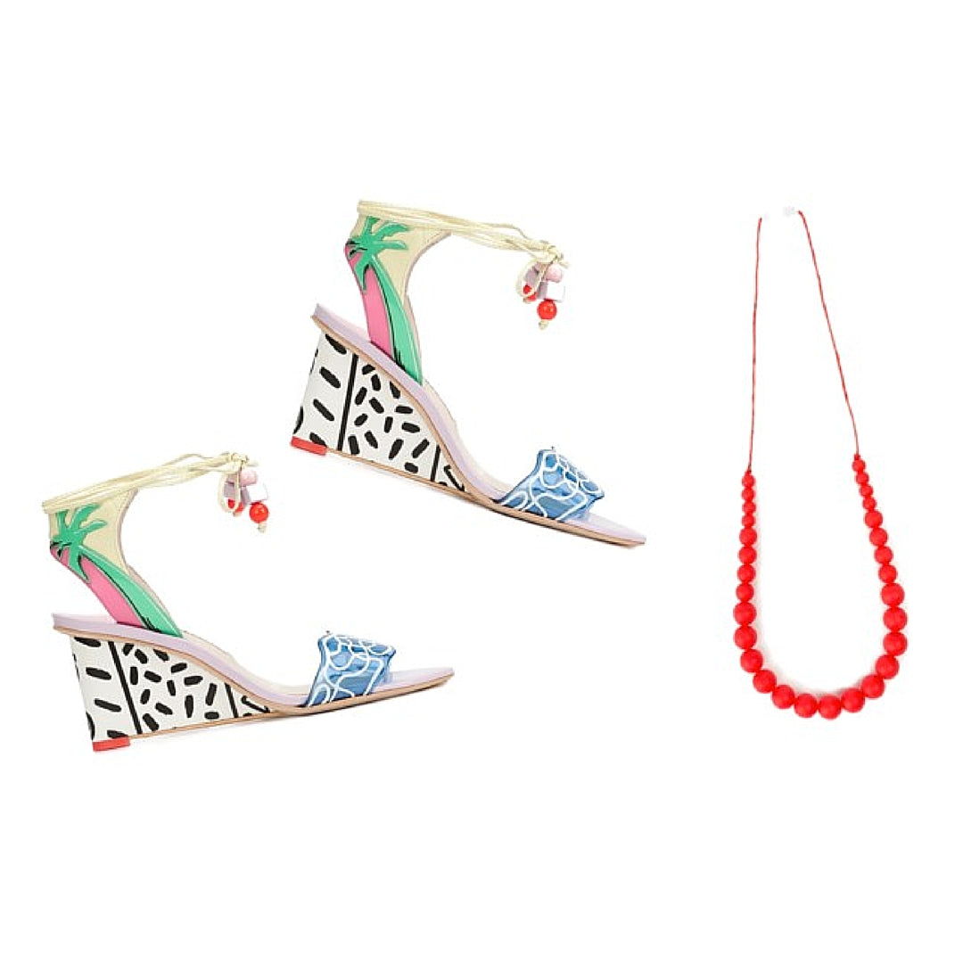 Womens Colourful Sandals with Red Softies Necklace