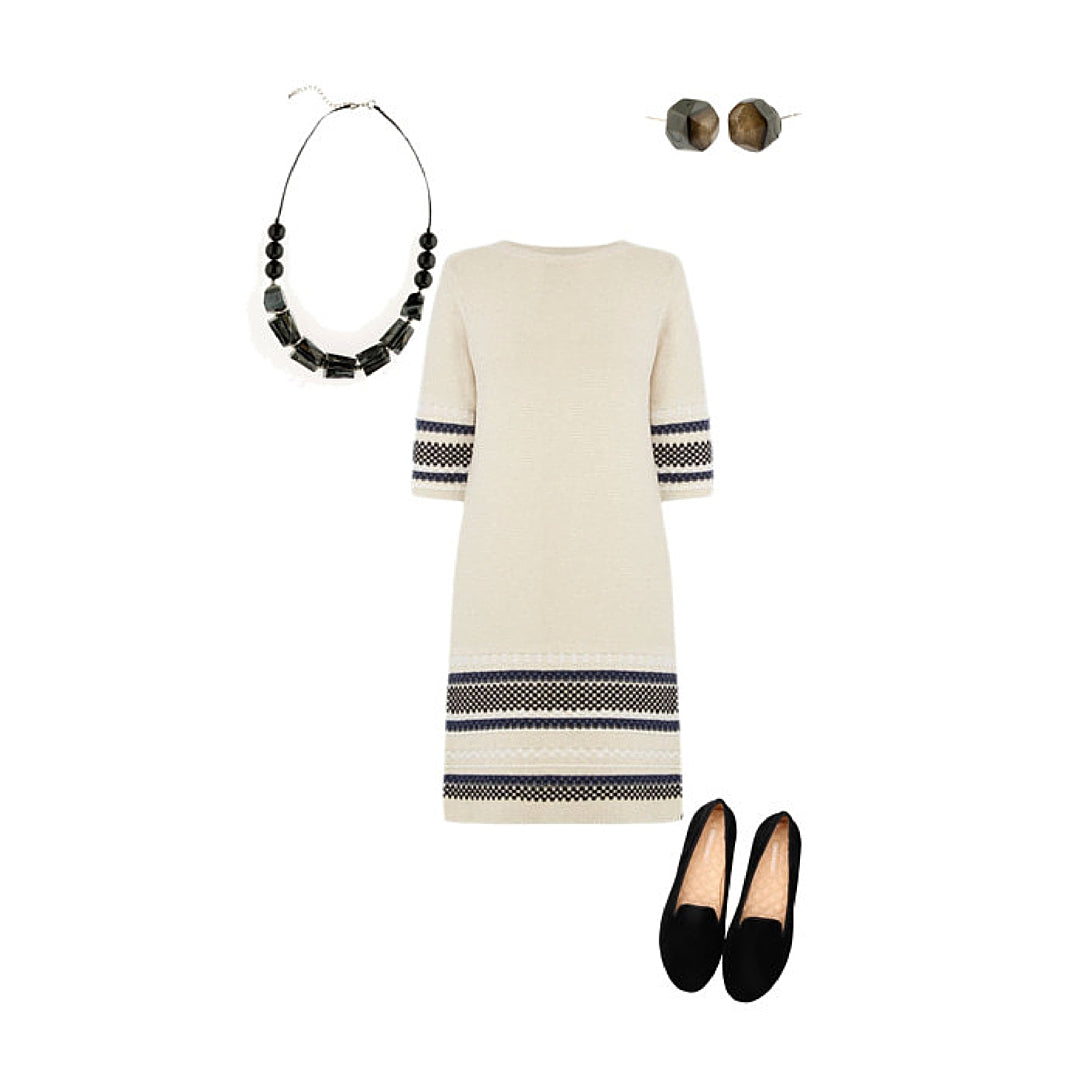 Womens Style Inspiration with Cream Dress, Black Shoes and Black Jewellery