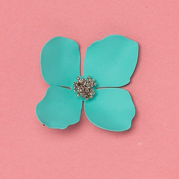 Aqua Bloom Floral Studs Ruby Olive