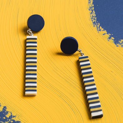 Mod Squad Striped Drop Earrings Multi