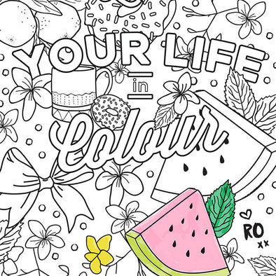 FREE Live Your Life in Colour - Colouring in Page - Downloadable - Ruby Olive - 1