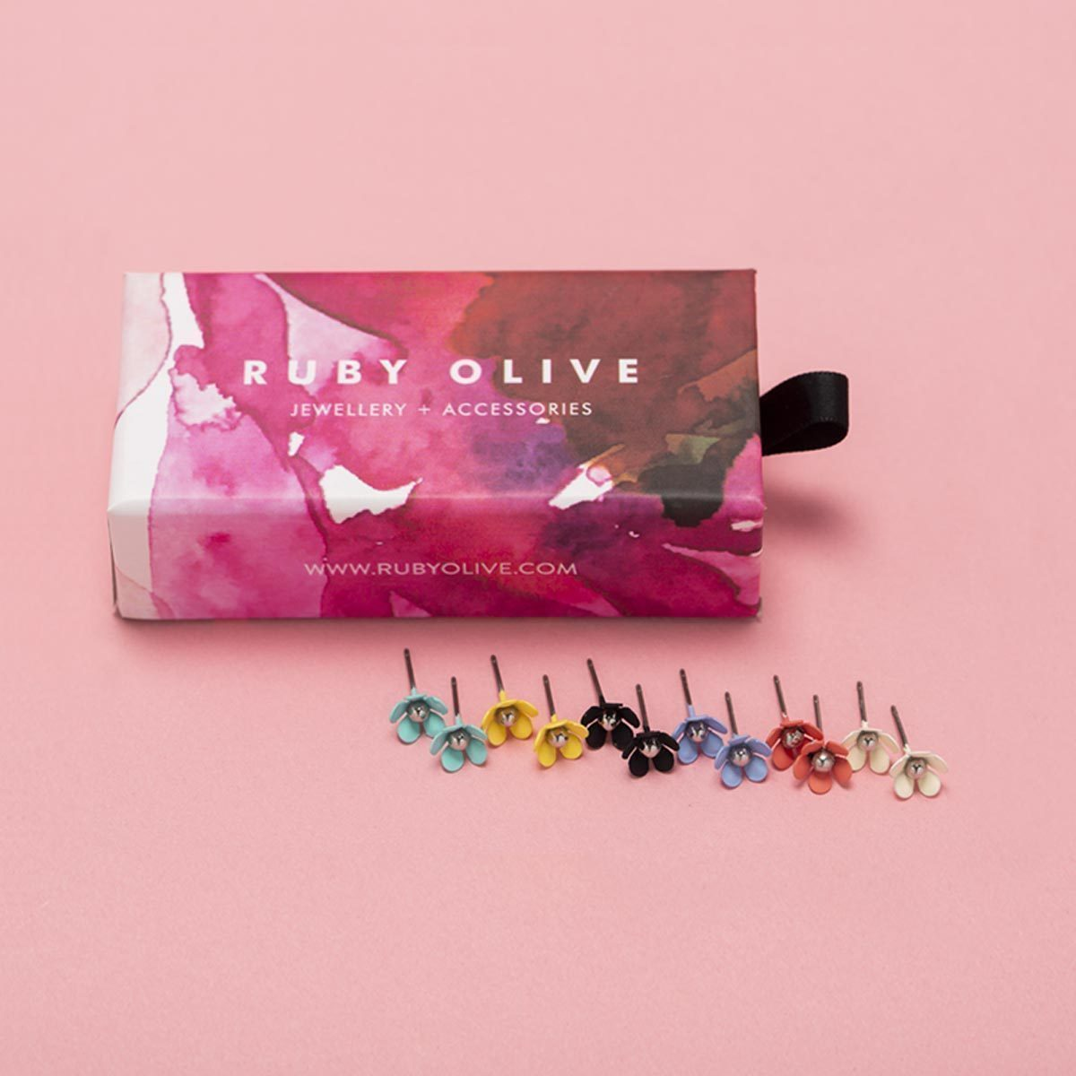 Mini Bloom Studs Gift Box Ruby Olive Jewellery