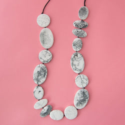 Grey Marble Long Artisan Necklace