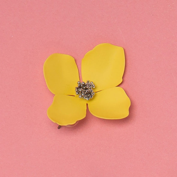 Yellow Bloom Floral Stud Earrings Ruby Olive