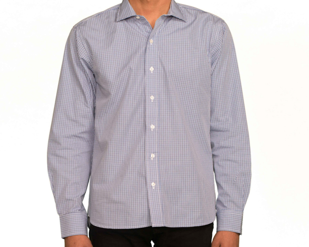 Malcolm Poplin Check Navy/Blue Spread