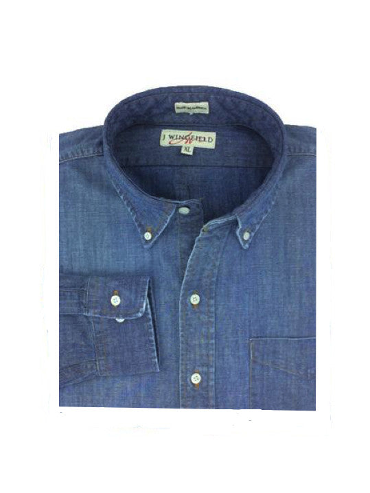 Carolina Indigo Blue Washed Button Down