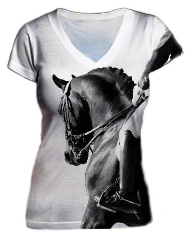 Black and White Dressage Vneck